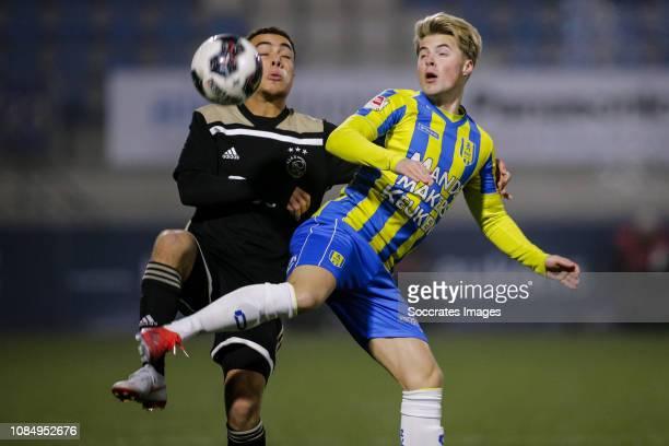 Sergino Dest of Ajax U23 Emil Hansson of RKC Waalwijk during the Dutch Keuken Kampioen Divisie match between RKC Waalwijk v Ajax U23 at the...