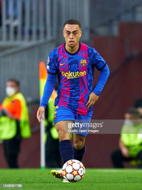 Sergino Dest of FC Barcelona controls the ball during the UEFA Champions League group E match between FC Barcelona and Dinamo Kiev at Camp Nou on...
