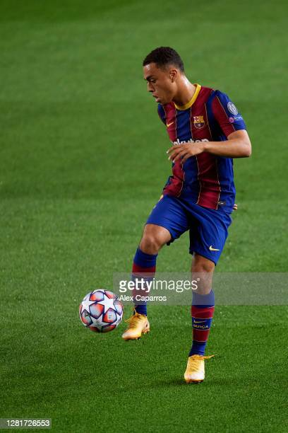 Sergino Dest of FC Barcelona controls the ball during the UEFA Champions League Group G stage match between FC Barcelona and Ferencvaros Budapest at...
