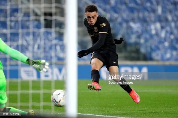 Sergino Dest of FC Barcelona scores 0-2 during the La Liga Santander match between Real Sociedad v FC Barcelona at the Estadio Reale Arena on March...