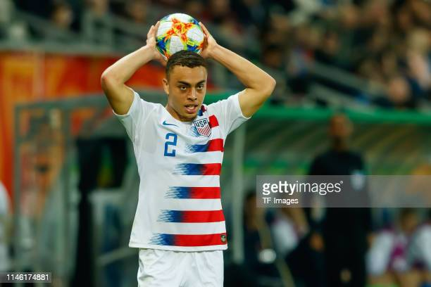 Sergino Dest of the United States throwin during the 2019 FIFA U20 World Cup group D match between Ukraine and USA at BielskoBiala Stadium on May 24...