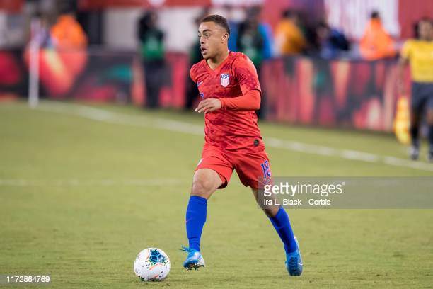 Sergino Dest of the United States with the ball in front of him 1st half of the Friendly match between the United States Men's National Team and...