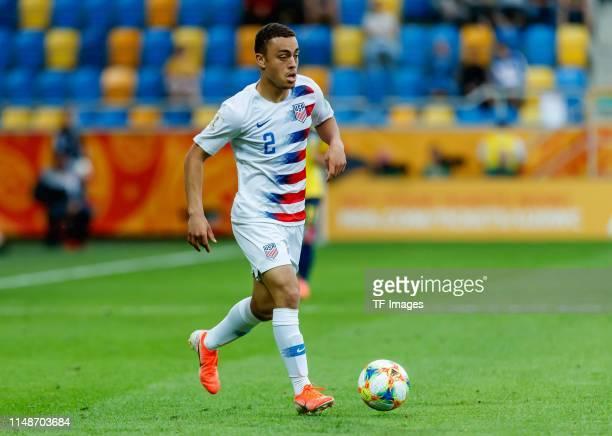 Sergino Dest of USA controls the ball during the 2019 FIFA U20 World Cup Quarter Final match between USA and Ecuador at Gdynia Stadium on June 8 2019...