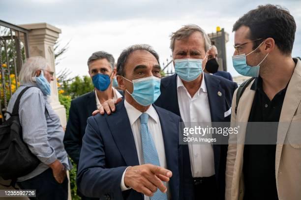 Sergio Abramo , mayor of Catanzaro, and Luigi Brugnaro , mayor of Venice arriving for meeting. At the regional electoral campaign, Mayor of Venice...