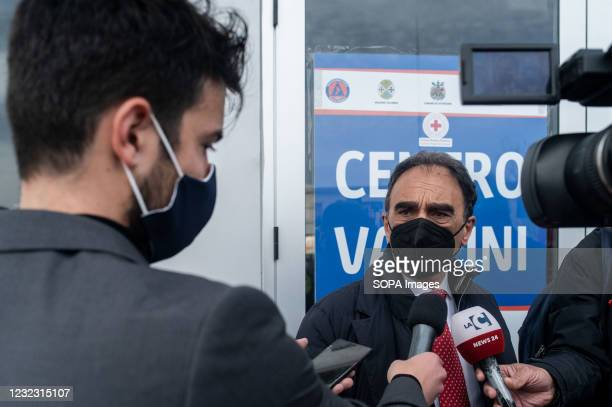 Sergio Abramo, Mayor of Catanzaro, doing an interview during the inauguration. The COVID-19 Vaccine Hub set up at the Trade Fair Centre in Catanzaro...