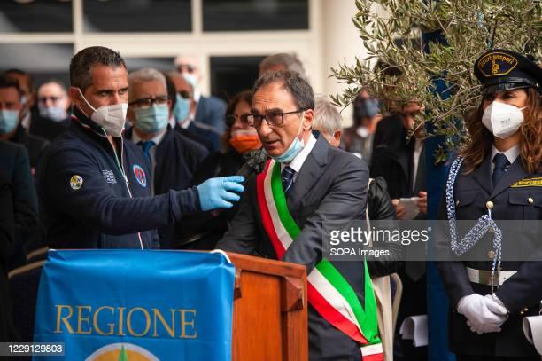 Sergio Abramo, mayor of Catanzaro speaking during the funeral. At the Regional Citadel in Catanzaro was the last tribute for Jole Santelli, Governor...