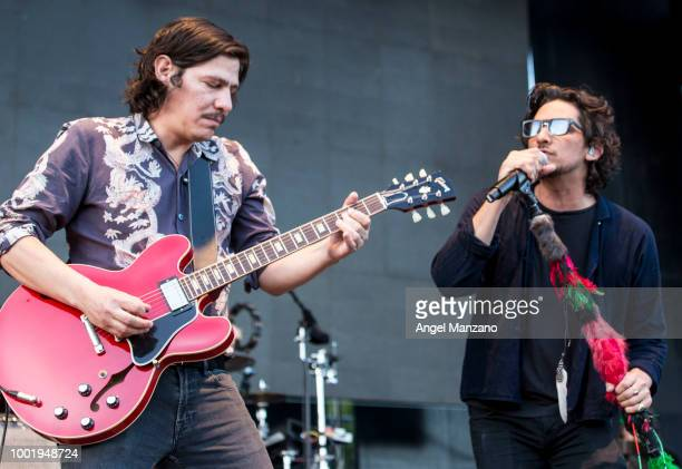 Sergio Acosta and Leon Larregui from Zoe performs in concert at Las Noches del Botanico festival on July 19 2018 in Madrid Spain