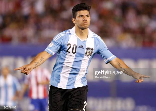 Sergio Agüero celebrates the second goal during a match between Paraguay and Argentina as part of the 16th round of the South American Qualifiers at...