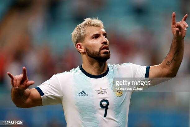 Sergio Agüero of Argentina celebrates after scoring the second goal of his team during the Copa America Brazil 2019 group B match between Qatar and...