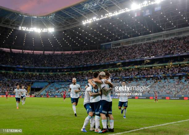 Sergio Agüero of Argentina celebrates with teammates after scoring the second goal of his team during the Copa America Brazil 2019 group B match...