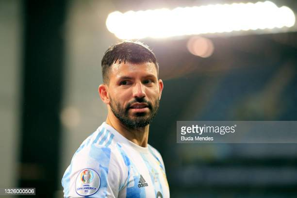 Sergio Agüero of Argentina gestures during a Group A match between Argentina and Bolivia as part of Copa America 2021 at Arena Pantanal on June 28,...