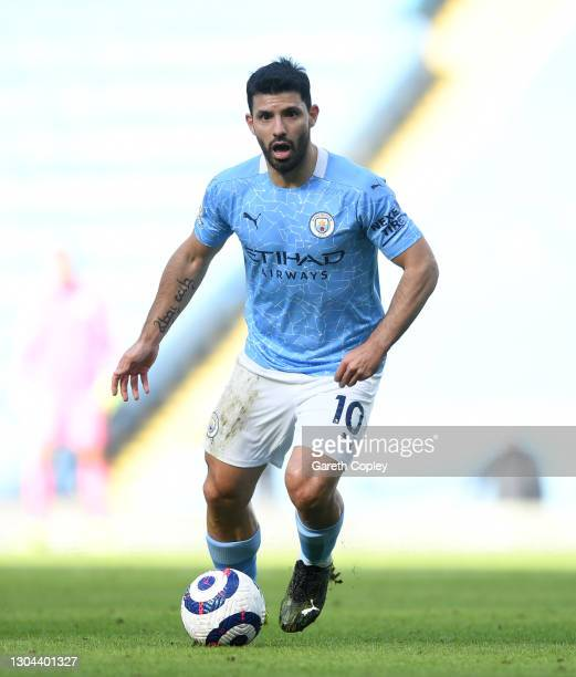 Sergio Agüero of Manchester City during the Premier League match between Manchester City and West Ham United at Etihad Stadium on February 27, 2021...