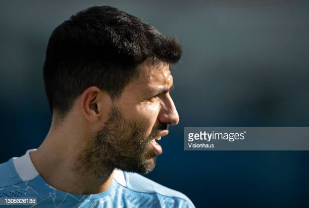 Sergio Agüero of Manchester City walks off after being substituted during the Premier League match between Manchester City and West Ham United at...