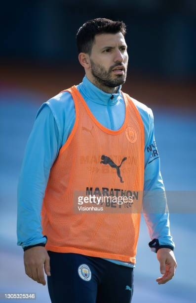 Sergio Agüero of Manchester City warms up before the Premier League match between Manchester City and West Ham United at Etihad Stadium on February...