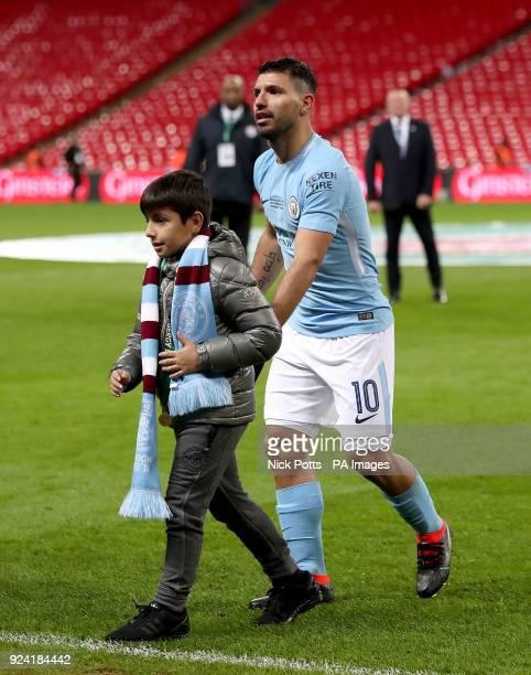 Sergio Aguero and Benjamin Aguero Maradona after the Carabao Cup Final at Wembley Stadium London