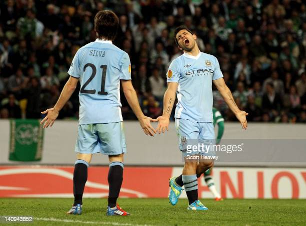 Sergio Aguero and David Silva of Manchester City look dejected during the UEFA Europa League Round of 16 between Manchester City and Sporting Lisbon...