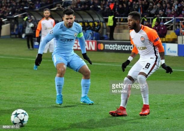 Sergio Aguero and Fred during the UEFA Champions League group F match between Shakhtar Donetsk and Manchester City at Metalist Stadium on December 6...