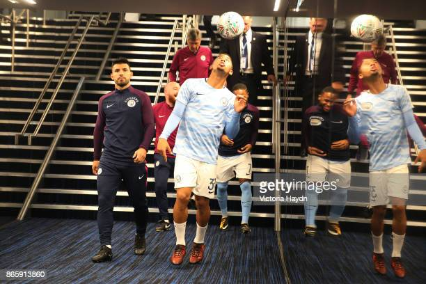 Sergio Aguero and Gabriel Jesus of Manchester City arrive prior to the Carabao Cup Fourth Round match between Manchester City and Wolverhampton...