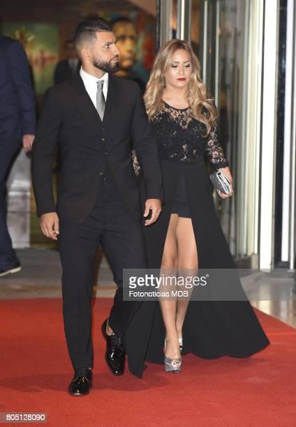 Sergio Aguero and Karina Tejada La Princesita attend Lionel Messi and Antonela Rocccuzzo's wedding at the City Center Rosario Hotel Casino on June 30...