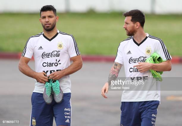 Sergio Aguero and Lionel Messi of Argentina arrive pirior a training session at Stadium of Syroyezhkin sports school on June 19, 2018 in Bronnitsy,...