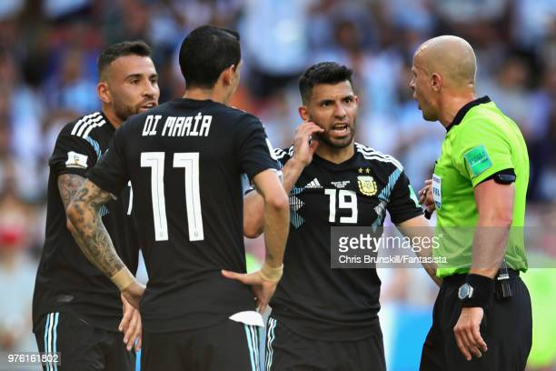 Sergio Aguero Angel Di Maria and Nicolas Otamendi all of Argentina protest with Referee Szymon Marciniak during the 2018 FIFA World Cup Russia group...