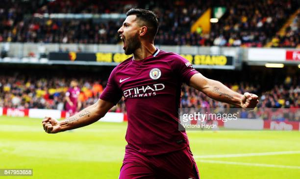 Sergio Aguero celebrates during the Premier League match between Watford and Manchester City at Vicarage Road on September 16 2017 in Watford England