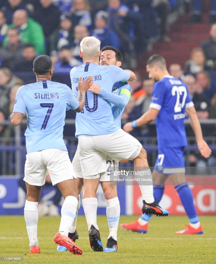 Uefa Champions League Round Of: Sergio Aguero, David Silva And Raheem Sterling Of