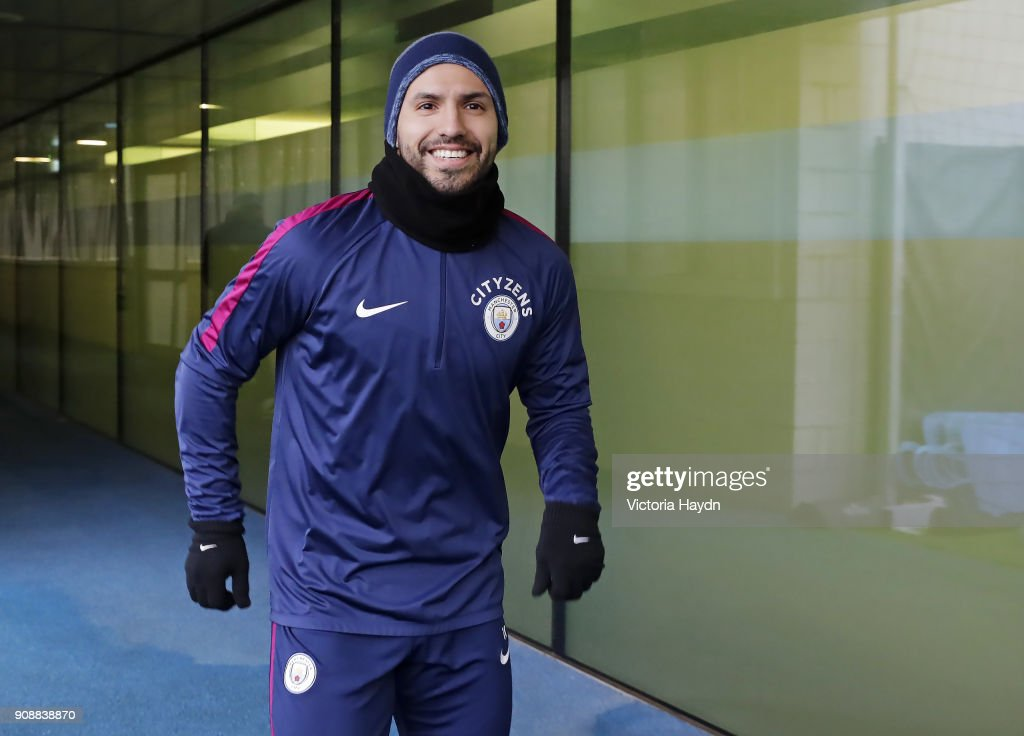Sergio Aguero during training at Manchester City Football Academy on January 22, 2018 in Manchester, England.