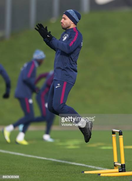 Sergio Aguero in action during training at Manchester City Football Academy on December 12 2017 in Manchester England