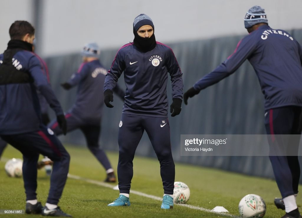 Sergio Aguero in action during training at Manchester City Football Academy on January 8, 2018 in Manchester, England.