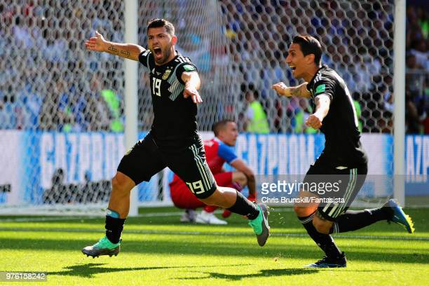 Sergio Aguero of Argentina celebrates after scoring his sides first goal during the 2018 FIFA World Cup Russia group D match between Argentina and...
