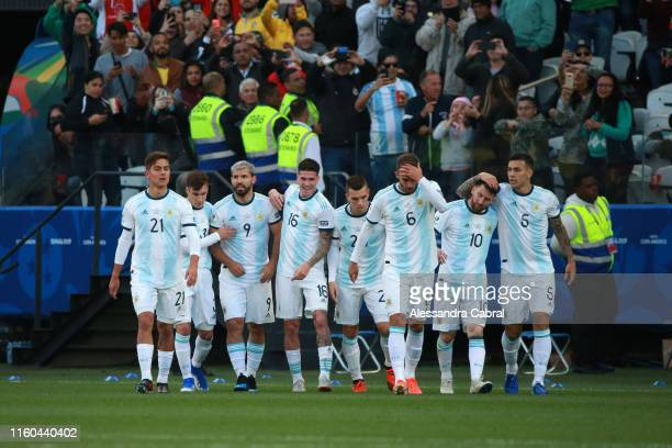 Sergio Aguero of Argentina celebrates after scoring the opening goal with teammates during the Copa America Brazil 2019 Third Place match between...