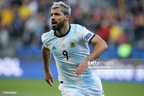 Sergio Aguero of Argentina celebrates after scoring the opening goal during the Copa America Brazil 2019 Third Place match between Argentina and...