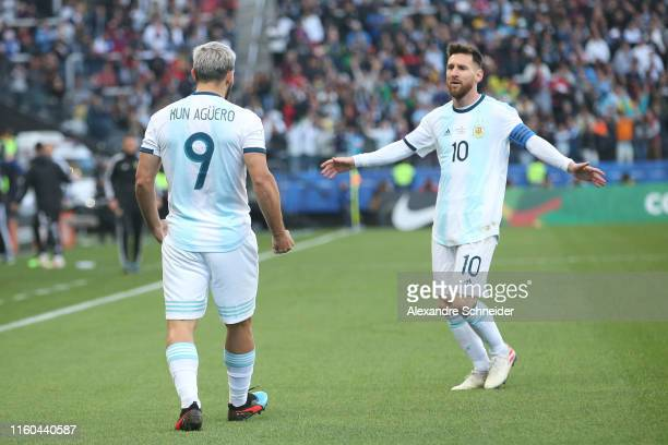Sergio Aguero of Argentina celebrates after scoring the opening goal with teammate Lionel Messi during the Copa America Brazil 2019 Third Place match...