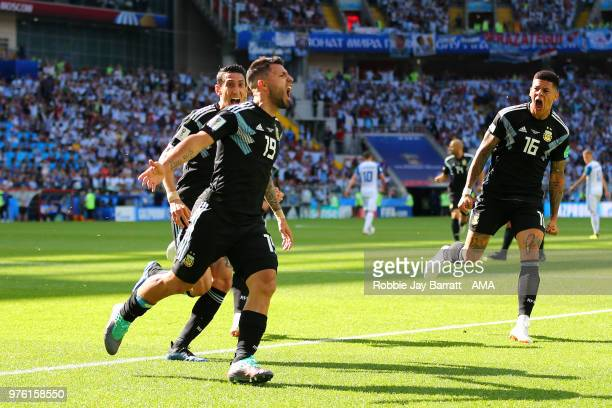 Sergio Aguero of Argentina celebrates scoring a goal to make it 10 during the 2018 FIFA World Cup Russia group D match between Argentina and Iceland...