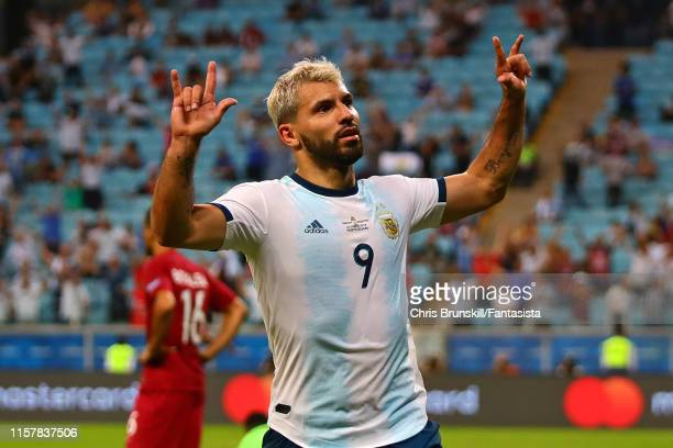 Sergio Aguero of Argentina celebrates scoring his side's second goal during the Copa America Brazil 2019 group B match between Qatar and Argentina at...