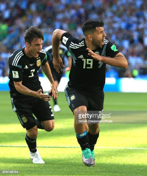 Sergio Aguero of Argentina celebrates scoring their 1st goal during the 2018 FIFA World Cup Russia group D match between Argentina and Iceland at...