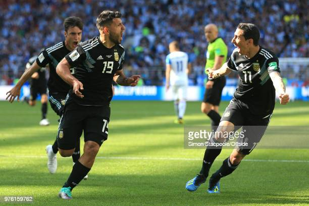 Sergio Aguero of Argentina celebrates scoring their first goal with Angel Di Maria of Argentina during the 2018 FIFA World Cup Russia group D match...