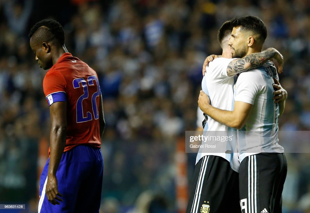 Sergio Aguero of Argentina celebrates with teammate Lionel Messi after scoring the fourth goal of his team during an international friendly match between Argentina and Haiti at Alberto J. Armando Stadium on May 29, 2018 in Buenos Aires, Argentina.