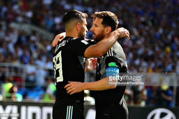 Sergio Aguero of Argentina celebrates with teammate Lionel Messi after scoring his sides first goal during the 2018 FIFA World Cup Russia group D...