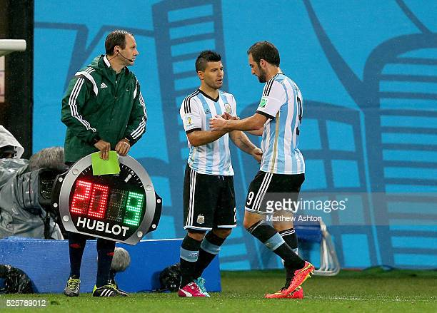 Sergio Aguero of Argentina comes on as a substitute after having been injured for 2 weeks to replace Gonzalo Higuain of Argentina