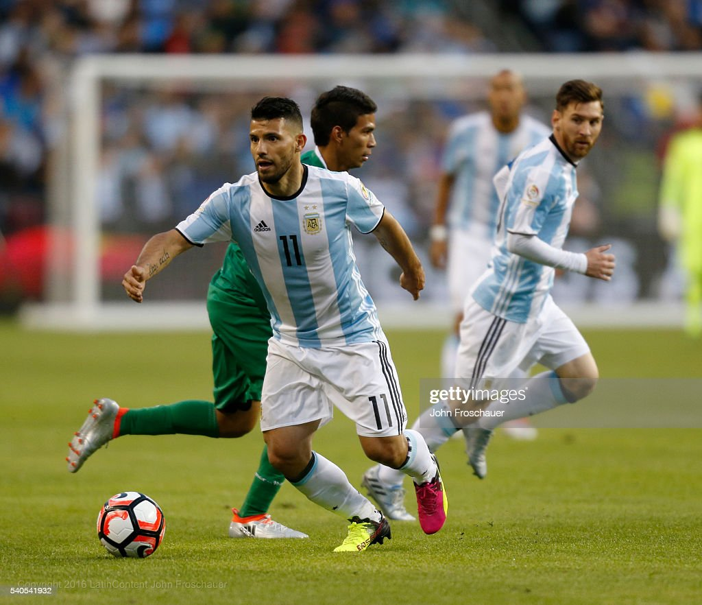 Sergio Aguero of Argentina drives the ball during a group D match between Argentina and Bolivia at Century Link Field as part of Copa America Centenario US 2016 on June 14, 2016 in Seattle, Washington, US.