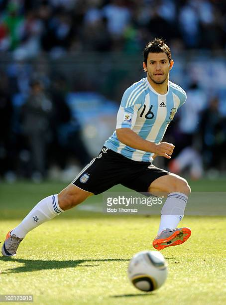 Sergio Aguero of Argentina during the 2010 FIFA World Cup South Africa Group B match between Argentina and South Korea at Soccer City Stadium on June...