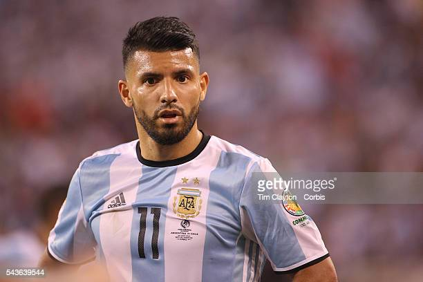 Sergio Aguero of Argentina during the Argentina Vs Chile Final match of the Copa America Centenario USA 2016 Tournament at MetLife Stadium on June 26...