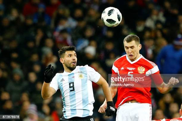 Sergio Aguero of Argentina in action against Viktor Vasin of Russia during the international friendly match between Russia and Argentina at BSA OC...