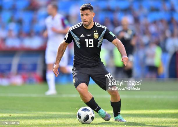 Sergio Aguero of Argentina in action during the 2018 FIFA World Cup Russia group D match between Argentina and Iceland at Spartak Stadium on June 16...