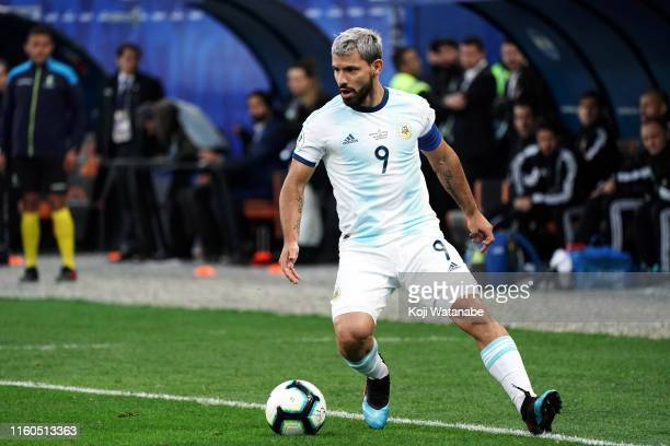 Sergio Aguero of Argentina in action during the Copa America Brazil 2019 Third Place match between Argentina and Chile at Arena Corinthians on July...