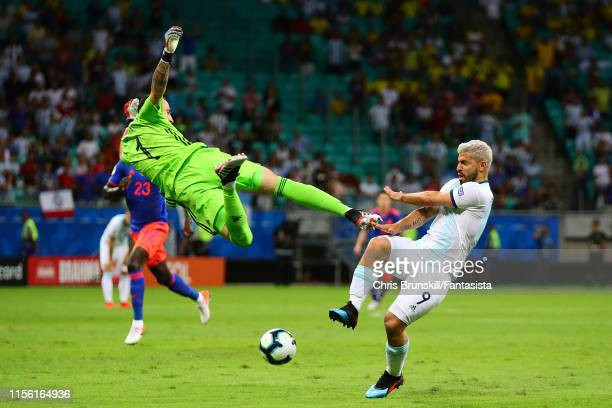 Sergio Aguero of Argentina is challenged by David Ospina of Colombia during the Copa America Brazil 2019 group B match between Argentina and Colombia...