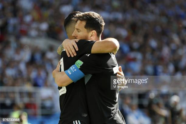 Sergio Aguero of Argentina Lionel Messi of Argentina during the 2018 FIFA World Cup Russia group D match between Argentina and Iceland at the Spartak...