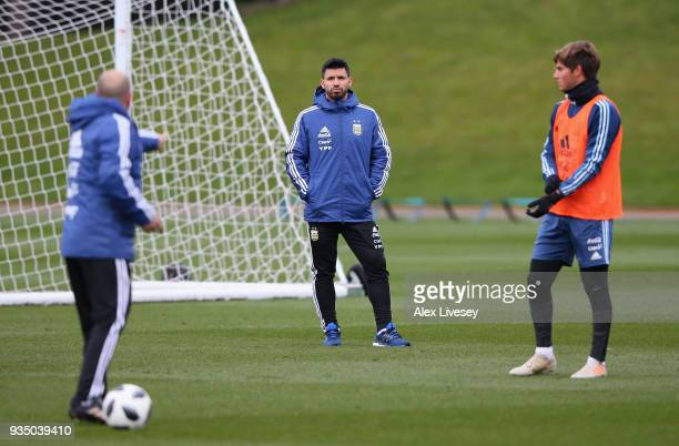Sergio Aguero of Argentina looks on during a Argentina training session at Manchester City Football Academy on March 20 2018 in Manchester England